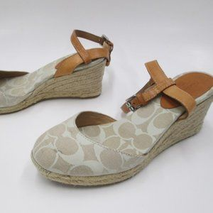 """COACH Parchment """"Valerie"""" Espadrille Wedge Sandals"""